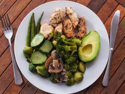 Grilled chicken breast chopped in pieces with fresh avocado, mushrooms and saute vegetables like brussel sprouts, zucchini, broccoli, asparagus and mushrooms. Perfect meal for lunch time with good calories.