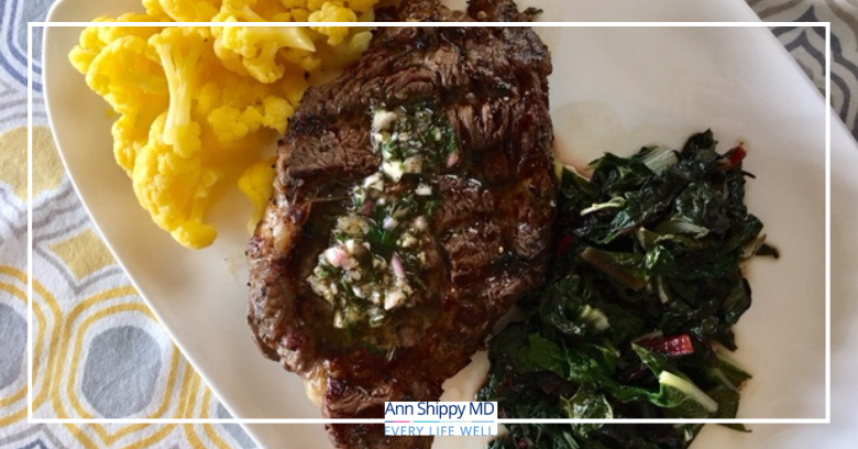 Grilled Ribeye with Cauliflower and Balsamic Rainbow Chard
