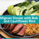 filet mignon with bok choy and cauliflower rice