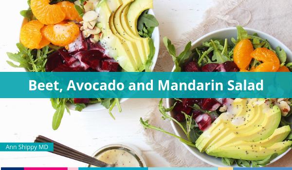 beet avocado mandarin orange salad with poppyseed dressing